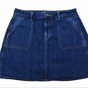 Old Navy darker jean skirt patch pockets size 8